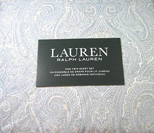 Lauren Bettwäsche-Set für Doppelbett, 100% Baumwolle, Paisleymuster, Blau/Weiß, 3-teilig - Paisley Twin-set