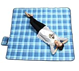 XXX-Large Outdoor Picnic Blanket with Waterproof Backing - 200 x 200 cm Beach Rug Mat - Folding and Portable Perfect for Beach, Travel, Festival, Camping - Blue & White Check