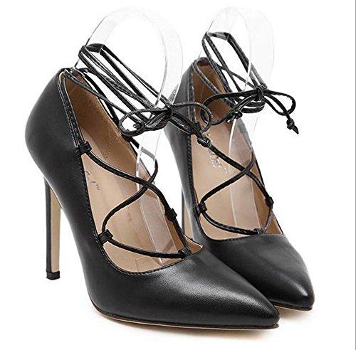 YMXJB L'Europe et la faible profondeur croisent strappy talons chaussures femme Black