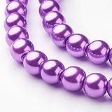 110 Lilac Purple Glass Imitation Pearl 8mm Round Beads One Strand J08902