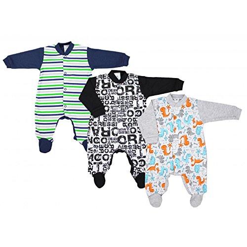 TupTam Unisex Baby Schlafstrampler Baumwolle 3er Pack, Farbe: Junge 2, Größe: 80