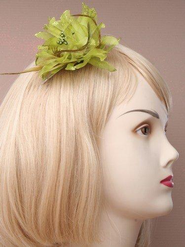 Détails à paillettes Couleur pastel Fleur Toboggan avec plumes (Vert)