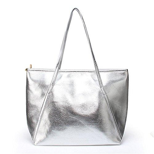 OURBAG Damen Mädchen Größe Modische Handtasche Schultertaschen mit Gute Qualität aus PU-Leder Silber