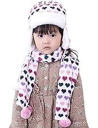 EOZY 2PCS Süß Kinder Mädchen Strickmütze Schal mit Herz Muster