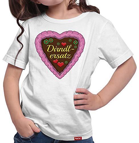 HARIZ  Mädchen T-Shirt Dirndlersatz Lebkuchen Oktoberfest Outfit Tracht Dirndl Lederhose Plus Geschenkarte Weiß 128/7-8 Jahre