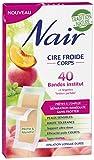Nair - 40 Bandes de Cire Froide Corps - Séparation Immédiate Sans Frotter - Tradition Nature Pêche & Menthe