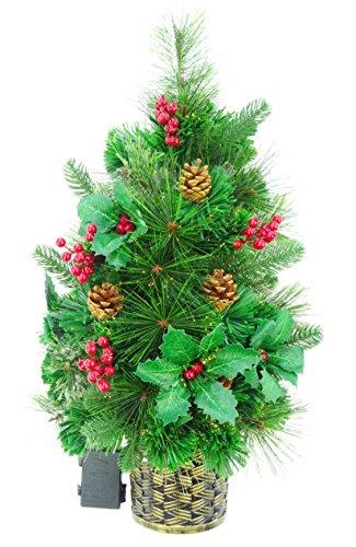 Christmas Concepts® 2ft (60cm) Verde de fibra óptica de pino montado en la pared árbol de Navidad con conos y bayas rojas