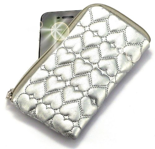 "Price comparison product image ""Miss"" Luxurious Padded Wallet / Holder with Carrying Strap with ""Dreamer"" no. 10009 Gliter Phone Charm for Garmin-Asus A10 . Unique Zipped Pouch / Case / Skin / Holster for Mobile Phone and Credit Cards - Silver ."