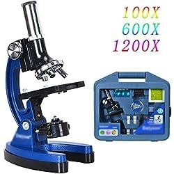 WOGQX Le Microscope Biologique Durable d'enfants De Bras en Métal d'enfants A Placé Le Jouet Éducatif D'étudiant 100X 600X 1200X, Cadeaux pour des Enfants,Nospecimen