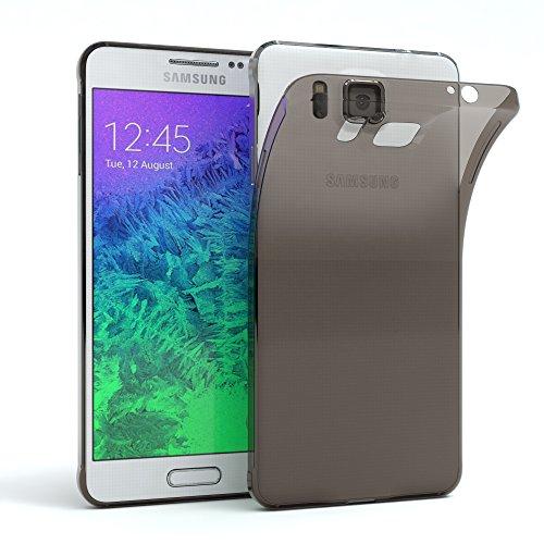 Samsung Galaxy Alpha Hülle - EAZY CASE Ultra Slim Cover Handyhülle - dünne Schutzhülle aus Silikon in Schwarz / Anthrazit Clear Schwarz / Anthrazit