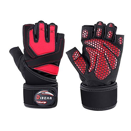 DIBEAR Fitness-Handschuhe für Männer und Frauen, halbe Finger, Kurzhantel mit einpoligem Stangen-Trainingsgerät, rutschfestes Armband für Sportgeräte, rot, L