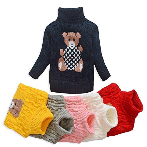VIFUUR Kids Bear Turtleneck Sweater Boys Girls Knit Sweater for Christmas Black UK 6-8 years