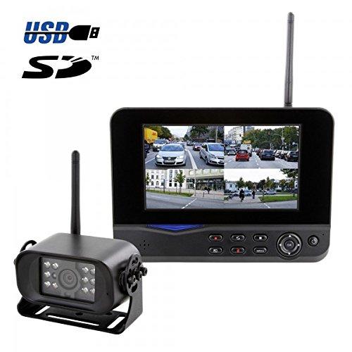 Preisvergleich Produktbild HaWoTEC TRUCK LKW PKW Digitales Funk Video-Rückfahrsystem mit Quadmonitor und Aufzeichnungsfunktion 12V 24V
