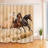 GuDoQi Pferde Dusche Vorhang Polyester Stoff Wasserdicht Schimmel-resistent Bunt Polyester Stoff Mit Haken für Bad Dekorationen