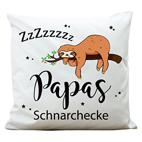 """Wandtattoo-Loft Bedrucktes Kissen """"Papas Schnarchecke"""" mit niedlichem Faultier am Ast – Aus 100% Polyester 40 x 40 cm – Mit Füllung"""