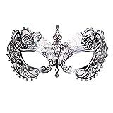 Jannes 2180 Augenmaske Venedig Deluxe mit Strass Venzianische Maske Venedig Venezianisch venezianischer Karneval Pestmaske Maskenball Venezia Vogelmaske Einheitsgröße Silber
