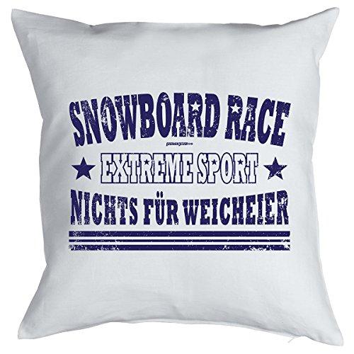 Apres-Ski Kissen Snowboard Race Extreme Sport Nichts für Weicheier - Kuschelkissen Sofakissen Sitzkissen Mitbringsel Polster