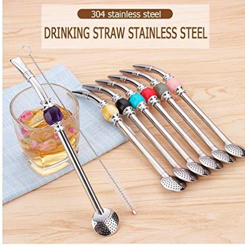 Edelstahl Straw Argentinien Mate-Tee-Trinkhalme Löffel mit sauberen Pinseln Set Party Bar Zubehör -