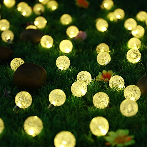 Solar Lichterkette mit 30 warmweiß LED von Protea, 6 Meter Solar Beleuchtung für Hochzeit, Party, Garten, Weihnachten und Fest Deko[Energieklasse A+++], Warmweiß mit Lichtsensor, Außenlichterkette, Weihnachtsbeleuchtung (Solar Lichterkette, Warmweiß)