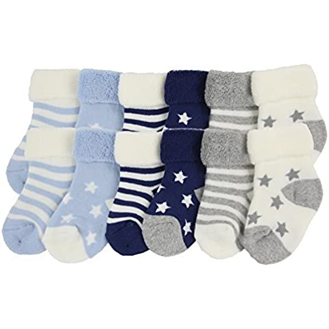 YULI Unisex Kids Newborn Baby Boy Girl Heavy Duty Comfort Navy Striped Rib Stars Crew (Rib Socks)