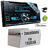 VW Touran - Kenwood DPX-X5000BT - 2DIN Bluetooth USB Autoradio - Einbauset