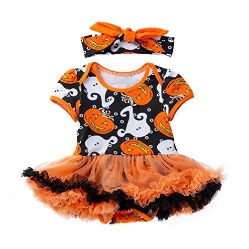 Evansamp Halloween-Outfits für Babys, Mädchen, Kürbis-Druck, Tutu, Kleid, Schleife, Stirnband,...