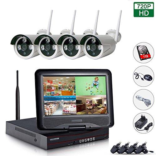 Wireless-cctv-kameras (EDSSZ® 4CH CCTV 720P Wireless IP Kameras System Einfacher Fernzugriff IR Tag / Nachtsicht Wasserdichte Kamera, 10,1 Zoll LCD-Bildschirm interne Festplatte WIFI 1TB NVR EDS-WIFIKIT04-720P-1TB)