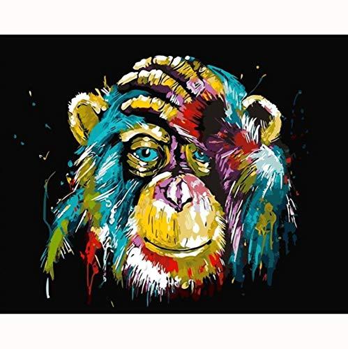HYDWX Gorilla-Pop-Art-Malerei Zahlen Bild nach Anzahl Digitalbilder Färbung von Hand einzigartiges Geschenk Raumdekor Home Animal Art 50x60cm -