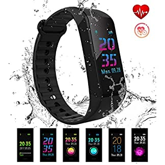 Pulsera Actividad Pulsera Inteligente de Deportiva Impermeable Presión Arterial IP67 Monitor de Pulso Calorías Sueño Pantalla a color 14 Modos de Deporte duración batería 25 días para IOS y Android