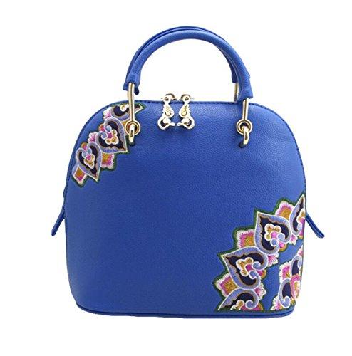 Gestickte Handtaschenschalenbeutel-Schulterbeutel Kurierbeutelart Und Weisehandtaschen Wilde Persönlichkeit Blue