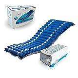 Colchón antiescaras con alternancia de celdas y compresor regulable | Color azul | Soporta hasta 140 kg | Kit de reparación | Alta calidad y fiabilidad | Modelo Mobi 2 | Marca Mobiclinic