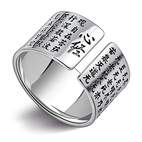Aoligei anello regolabile s999 argento cinese vento scultura buddista anello coppia di meridiano di cuore