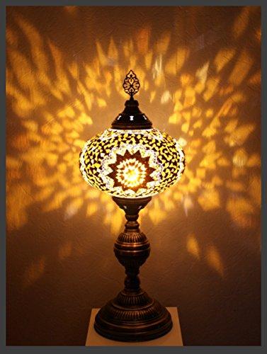 Mosaiklampe Mosaik - Tischlampe XXL Stehlampe orientalische lampe Gold Samarkand-Lights (Gold Tiffany-tisch-lampe)