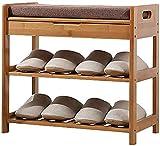 AGWa 3-Tier Bamboo scarpe Panchina, scarpe cremagliera, bagagli Design, ideale per disimpegno, bagno, soggiorno e corridoio, 3,50 cm