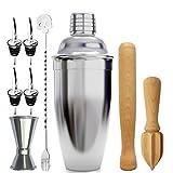 Bar Coctelera Set paquete de 9 piezas, Glasses alimentadores (15 ml / 30 ml), Madera Muddler, mezcla de cuchara, exprimidor, vertedor de vino