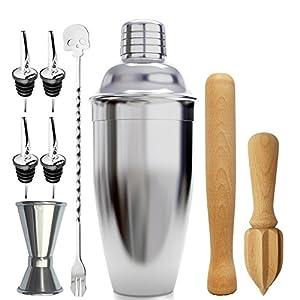 Bar-Coctelera-Set-paquete-de-9-piezas-Glasses-alimentadores-15-ml-30-ml-Madera-Muddler-mezcla-de-cuchara-exprimidor-vertedor-de-vino