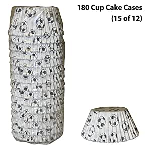 Pack of 180 Football Cupcake Cases/Baking Cases/Fairy Cake Cases/Muffin Cases by CDA Products 201-500 - Made in The UK with high Quality greaseproof Paper - Approx 38mm high & 54mm Dia at Base.