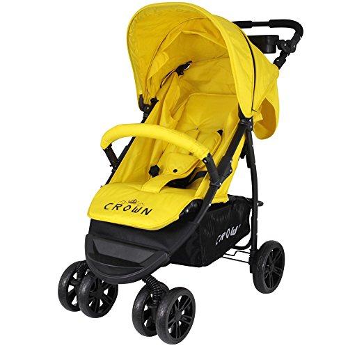 CROWN Kinderwagen Buggy Sport 360°-Rad - Farbe: Gelb ST560