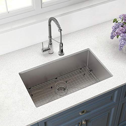 YOURITE T304 Edelstahl-Spüle für die Küche, 81,3 cm, 16 Gauge, mit Schutzgitter und Sieb -