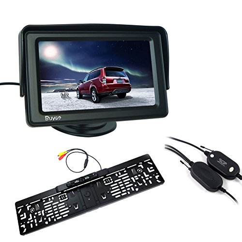 "Buyee® Funk Auto Rückfahrkamera 170° 4 IR LED Nachtsicht+Nummernschild+4,3"" Monitor"