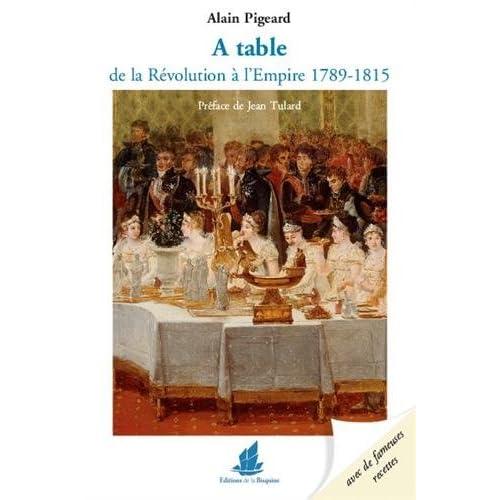 A table de la Révolution à l´Empire 1789-1815