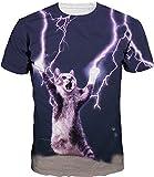 EUDOLAH Herren Bunt Galaxy T-Shirt Sport Rundhals Spaß Motiv Tops (Größe M (Tag L), Katze Blitz)