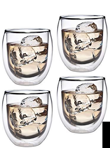 Feelino Aktion: 4X 320ml doppelwandiges Thermoglas mit Schwebe-Effekt, Teeglas/Kaffeeglas für Cappuchino, Milchkaffee, Tee, Eistee, Schorle, Desserts oder als Eisbecher geeignet, Kasalla 34R by