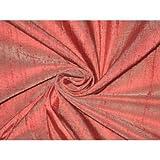 100% Pure Seide Dupionseide Stoff rot mit elfenbeinfarbenem