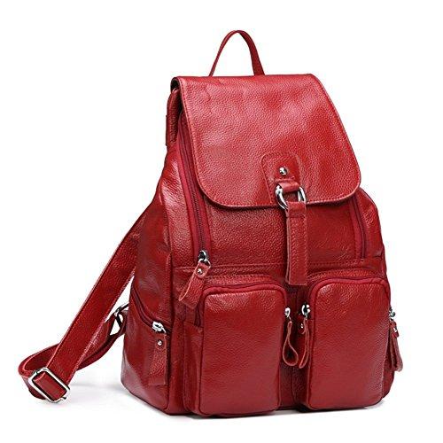 Retro Rucksack Leder Vintage Rucksack Wanderrucksack Hiking Backpack Damen Herren Schultertasche Leder Rucksack Für iPhone, iPad und Samsung Tablet vier Farben (Rot)