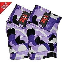 2fit - Vendajes para rodillas, para levantamiento de peso, diseño de camuflaje, unisex, CAMO PURPLE