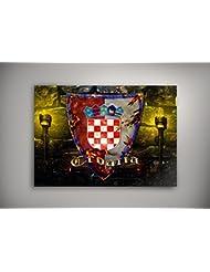 """Blason Croatie, Poster Auto-adhésif Affiche Papier Murale Pop-Art Décoration Intérieure Reproduction Peinture avec Dessin Coloré. Grandeur: 11"""" x 17"""" - 28 x 43 cm"""