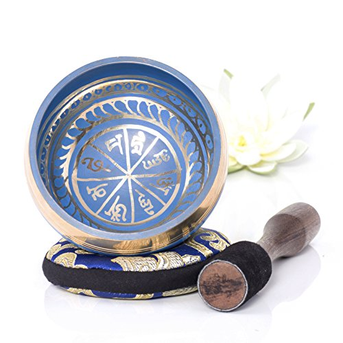 Silent Mind ~ tibetische Klangschale Set ~ blaues Farbdesign ~ mit Klöppel und Kissen ~ ideal für Achtsamkeit Meditation, Entspannung, Stress und Angstreduktion, Chakra Heilung, Yoga, Zen ~ perfektes spirituelles Geschenk Kristall-klangschalen Für Die Heilung