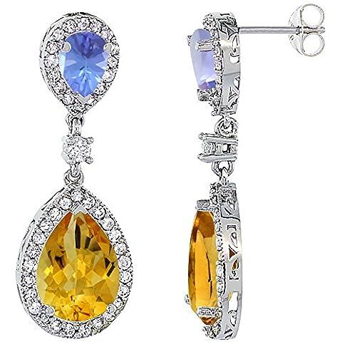 Oro bianco 14 k, con Tanzanite naturale, quarzo citrino & &-Orecchini a goccia con zaffiro e diamanti, colore: bianco - 14k Oro Bianco Tanzanite Goccia