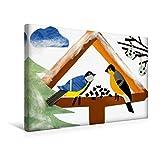 Premium Textil-Leinwand 45 cm x 30 cm quer, Vogelhäuschen mit Kohlmeise und Gimpel. Gebastelt aus Papier. | Wandbild, Bild auf Keilrahmen, Fertigbild (Gimpel) sitzen und fressen. (CALVENDO Kunst)